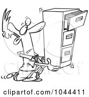 Royalty Free RF Clip Art Illustration Of A Cartoon Black And White Outline Design Of A Businessman Carrying A Filing Cabinet