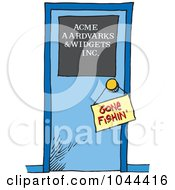 Royalty Free RF Clip Art Illustration Of A Cartoon Gone Fishing Sign On A Door by toonaday