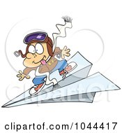 Royalty Free RF Clip Art Illustration Of A Cartoon Pilot Boy Flying On A Paper Plane by toonaday