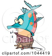 Royalty Free RF Clip Art Illustration Of A Cartoon Fisherman Inside A Big Fishs Mouth by toonaday