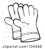 Royalty Free RF Clipart Illustration Of A Coloring Page Outline Of A Pair Of Gardening Hand Gloves