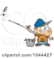 Royalty Free RF Clip Art Illustration Of A Cartoon Fishing Boy With A Bucket Of Worms