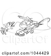 Royalty Free RF Clip Art Illustration Of A Cartoon Black And White Outline Design Of A Fishing Boy Reeling In A Fish