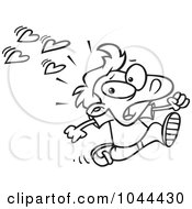 Royalty Free RF Clip Art Illustration Of A Cartoon Black And White Outline Design Of A Boy Fleeing From Love