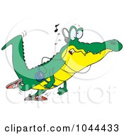 Royalty Free RF Clip Art Illustration Of A Cartoon Gator Walking And Listening To Music by toonaday