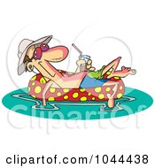 Royalty Free RF Clip Art Illustration Of A Cartoon Man Floating In An Inner Tube With A Beverage by toonaday