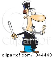 Royalty Free RF Clip Art Illustration Of A Cartoon Officer Gesturing To Stop And Whistling by toonaday