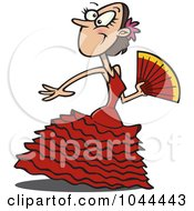 Royalty Free RF Clip Art Illustration Of A Cartoon Beautiful Flamenco Dancer by Ron Leishman