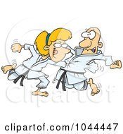 Royalty Free RF Clip Art Illustration Of A Cartoon Karate Woman Punching Her Fist Through A Mans Chest by toonaday
