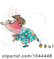 Royalty Free RF Clip Art Illustration Of A Cartoon Woman Experiencing Hot Flashes And Leaving Flame Steps by toonaday