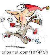 Royalty Free RF Clip Art Illustration Of A Cartoon Fit Elf Running