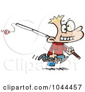 Royalty Free RF Clip Art Illustration Of A Cartoon Fishing Boy Carrying A Bucket Of Worms by toonaday