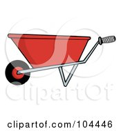 Royalty Free RF Clipart Illustration Of A Red Gardening Wheel Barrow
