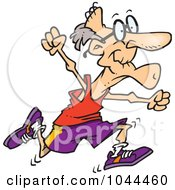 Royalty Free RF Clip Art Illustration Of A Cartoon Fit Senior Man Running by toonaday