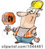 Cartoon Construction Worker Slowing Down Traffic