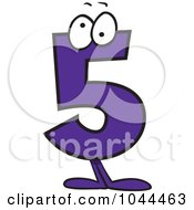 Royalty Free RF Clip Art Illustration Of A Cartoon Number 5 Five Character