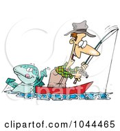 Royalty Free RF Clip Art Illustration Of A Cartoon Fish Tugging On A Mans Line by toonaday