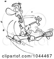 Royalty Free RF Clip Art Illustration Of A Cartoon Black And White Outline Design Of A Man Swatting At Flies