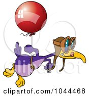 Royalty Free RF Clip Art Illustration Of A Cartoon Flightless Bird Tied To A Balloon by toonaday