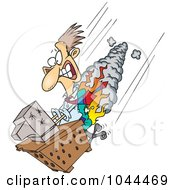 Royalty Free RF Clip Art Illustration Of A Cartoon Businessman And Computer Going Down In Flames
