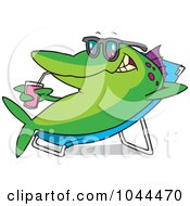 Royalty Free RF Clip Art Illustration Of A Cartoon Fish Relaxing On A Lounge Chair And Sipping A Beverage by toonaday