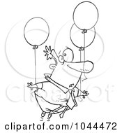 Cartoon Black And White Outline Design Of A Businessman Floating Away With Balloons