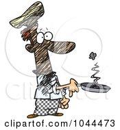 Cartoon Man Holding A Smoking Frying Pan