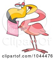 Royalty Free RF Clip Art Illustration Of A Cartoon Flamingo Holding A Flamingos Rule Sign by toonaday
