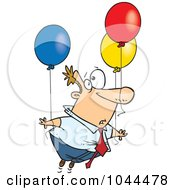 Cartoon Businessman Floating Away With Balloons