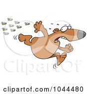 Royalty Free RF Clip Art Illustration Of A Cartoon Bear Fleeing From Bees by toonaday
