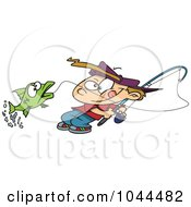 Royalty Free RF Clip Art Illustration Of A Cartoon Fishing Boy Reeling In A Fish by toonaday
