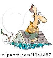 Cartoon Flood Survivor Sittin On His Roof
