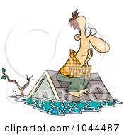 Royalty Free RF Clip Art Illustration Of A Cartoon Flood Survivor Sittin On His Roof by toonaday