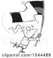 Cartoon Black And White Outline Design Of A Flag Bearer Girl Walking