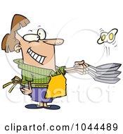 Cartoon Woman Flipping Eggs In A Frying Pan