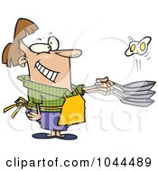 Royalty Free RF Clip Art Illustration Of A Cartoon Woman Flipping Eggs In A Frying Pan