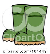 Royalty Free RF Clipart Illustration Of A Pair Of Green Gardening Rubber Boots