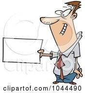 Cartoon Businessman Holding Out A Flash Card