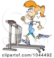 Royalty Free RF Clip Art Illustration Of A Cartoon Sweaty Woman Running On A Treadmill by toonaday
