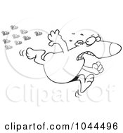 Royalty Free RF Clip Art Illustration Of A Cartoon Black And White Outline Design Of A Bear Fleeing From Bees by toonaday