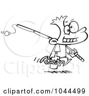 Royalty Free RF Clip Art Illustration Of A Cartoon Black And White Outline Design Of A Fishing Boy Carrying A Bucket Of Worms