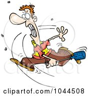 Royalty Free RF Clip Art Illustration Of A Cartoon Man Swatting At Flies by toonaday