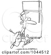 Royalty Free RF Clip Art Illustration Of A Cartoon Black And White Outline Design Of A Mover Carrying A Fridge by toonaday