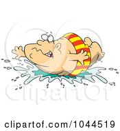Royalty Free RF Clip Art Illustration Of A Cartoon Fat Man Doing A Belly Flop