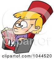Royalty Free RF Clip Art Illustration Of A Cartoon Girl With Movie Popcorn