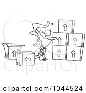 Royalty Free RF Clip Art Illustration Of A Cartoon Black And White Outline Design Of A Sad Woman Sitting By Moving Boxes by toonaday