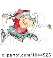Royalty Free RF Clip Art Illustration Of A Cartoon Mrs Claus Playing Tennis by toonaday