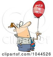 Royalty Free RF Clip Art Illustration Of A Cartoon Man Holding An Over The Hill Balloon