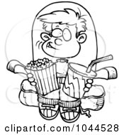 Royalty Free RF Clip Art Illustration Of A Cartoon Black And White Outline Design Of A Boy With Movie Snacks