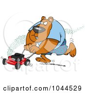 Royalty Free RF Clip Art Illustration Of A Cartoon Bear Mowing His Lawn by toonaday